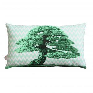 kussen, kussen kopen, kussen rechthoek, Sierkussen groen Bonsai japans patroon okika