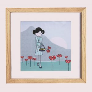 prent meisjeskamer bloemenmeisje, tekening, bloemen, meisje, meisjeskamer, illustratie, japan, bloemen, kinderkamer, okika
