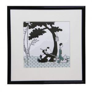 panda, illustratie, tekening, zwart wit, kinderkamer