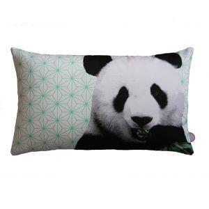 kussen, panda, groen, okika