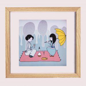 picknick, illustratie, meisjes, japan, tekening, kinderkamer