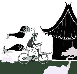 illustratie, Githa, tekening, zwart wit, kinderkamer, jongen