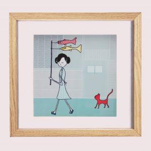 prent kinderkamer, meisje, meisje met de kat, kat, meisjeskamer, schilderij, okika, illustratie, japan, meisje, tekening, aan de muur, kinderkamer