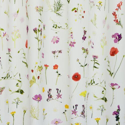 Okika · Bloemen, witte gordijnstof voor gordijnen