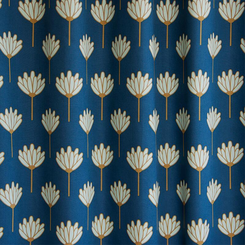 Okika kobalt bloem gordijnstof okika ad 1677 sfeer - Meisje kamer sfeer ...