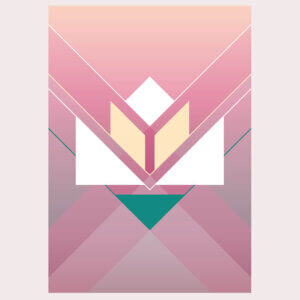 lotus, bloem, waterbloem, geometrie, illustratie, poster, tekening, tangram, kinderkamer, posters, meisjeskamer, prent, prenten, aan de muur