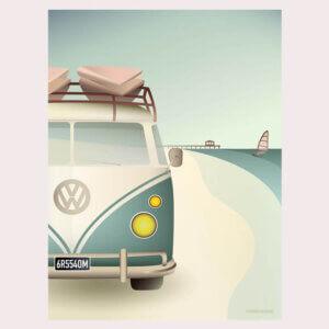 poster VW Camper, vissevasse, pastel, pastelkleuren, volkswagen, camper, vakantie, retro, busje, illustratie, poster, tekening, kinderkamer, posters, meisjeskamer, prent, prenten, aan de muur