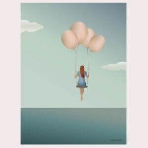 poster Balloon Dream, vissevasse, pastel, pastelkleuren, meisje, ballon, dromen, zweven, illustratie, poster, tekening, kinderkamer, posters, meisjeskamer, prent, prenten, aan de muur