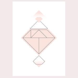 diamant, geometrie, illustratie, poster, tekening, tangram, kinderkamer, posters, meisjeskamer, prent, prenten, aan de muur