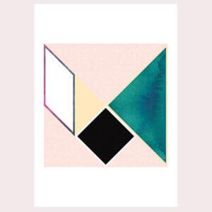 geometrie, illustratie, poster, tekening, tangram, kinderkamer, posters, meisjeskamer, prent, prenten, aan de muur