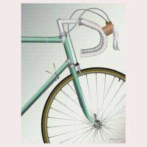 vissevasse, pastel, pastelkleuren, fietsen, wielrennen, racefiets, racen, stuur, illustratie, poster, tekening, kinderkamer, posters, meisjeskamer, prent, prenten, aan de muur