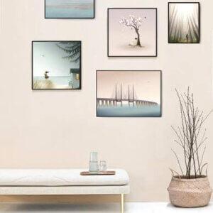 poster Ocean View, vissevasse, pastel, pastelkleuren, zwemster, swommeren, illustratie, poster, tekening, kinderkamer, posters, meisjeskamer, prent, prenten, aan de muur