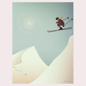 poster Skiing, vissevasse, pastel, pastelkleuren, skien, skier, skiing, sneeuw, bergen, illustratie, poster, tekening, kinderkamer, posters, meisjeskamer, prent, prenten, aan de muur
