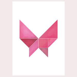 vlinder, roze, wit, geometrie, illustratie, poster, tekening, tangram, kinderkamer, posters, meisjeskamer, prent, prenten, aan de muur