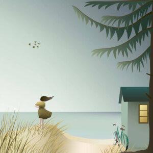 poster Ocean View, vissevasse, pastel, pastelkleuren, ocean view, illustratie, poster, tekening, kinderkamer, posters, meisjeskamer, prent, prenten, aan de muur