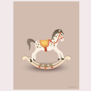 poster rocking horse, vissevasse, pastel, pastelkleuren, roze, oud-roze, hobbelpaard, rocking horse, illustratie, poster, tekening, kinderkamer, posters, meisjeskamer, prent, prenten, aan de muur
