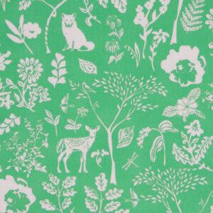 gordijnen retro groen, bos, vos, hert, ooievaar, babykamer, groen, gordijn kinderkamer, gordijn op maat, gordijn meisjeskamer, kinderkamer, kamer, gordijnen online, gordijn kopen