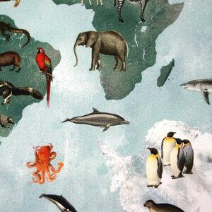 vouwgordijn blauwe wereld, blauw, dieren, wereldkaart, atlas, dier, animal, tiener, puber, neutraal, babykamer, zoon, dochter, meisje, jongen, baby babykamer, gordijn kinderkamer, gordijn op maat, gordijn meisjeskamer, kinderkamer, kamer, gordijnen online, gordijn kopen