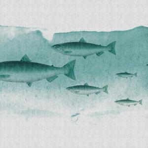 Behangwand Blauwe Vis, behangen, behang, behangwand, wand behangen, kwaliteit, pinguin, natuur, puur, stijlvol,behang, behangen, wand, kunst, art,