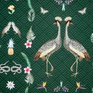 vouwgordijn Flora, vogel, vogels, kraanvogel, bohemien, groen, , natuur, groen, dieren, bohemien, dier, animal, tiener, puber, neutraal, babykamer, zoon, dochter, meisje, jongen, baby babykamer, gordijn kinderkamer, gordijn op maat, gordijn meisjeskamer, kinderkamer, kamer, gordijnen online, gordijn kopen