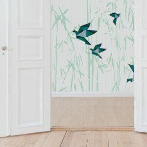 behang Vogels Groen, behang, behangen, behang geel, kinderkamer, behang meisje, behang jongen, geel, oker, warm, print, japans, asanoha,