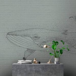 Behangwand Walvis mint grijs, behangen, behang, behangwand, wand behangen, kwaliteit, walvis, natuur, puur, stijlvol,behang, behangen, wand, kunst, art,