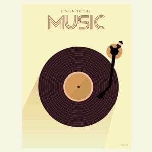 poster, muziek, music, lp, langspeelplaat, vissevasse, okika, illustratie, aan de muur, wand, decoratie, pastel, geel, zwart