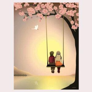 poster, romantisch, samen, zonsondergaang, liefde, , vissevasse, okika, illustratie, aan de muur, wand, decoratie, pastel, roze, groen