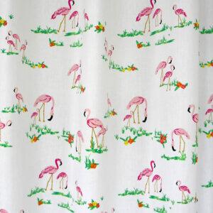 gordijnen, flamingo, wit, roze, meisjeskamer, meisje